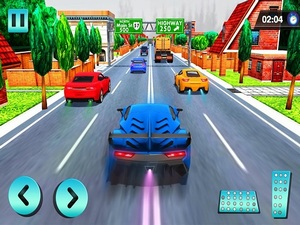 Car Racing in Fast Highway Traf
